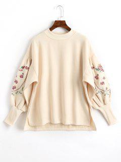 Lantern Sleeve Side Slit Floral Patched Sweatshirt - Apricot