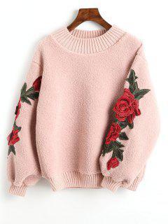 Floral Appliques Ribbed Hem Shearling Sweatshirt - Light Pink