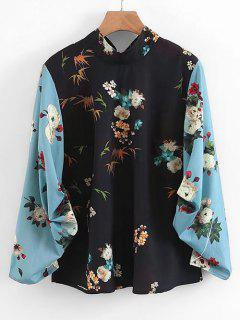 Back Tied Cinched Sleeve Floral Blouse - Floral L
