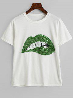 Camiseta Cuello Redondo Con Lentejuelas Cuello - Blanco Y Verde Xl