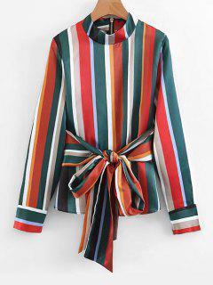 Bowknot Back Zip Stripes Blouse - Stripe M