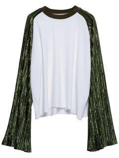 Raglan Sleeve Velvet Panel Sweatshirt - White Xl