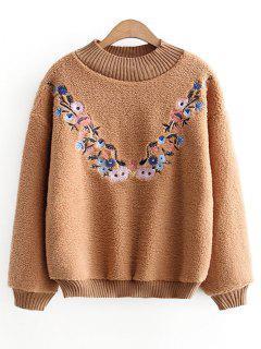 Strukturiertes Blumenbesticktes Sweatshirt - Hellbraun