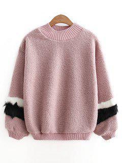 Mock Neck - Kontrastfarbenes, Strukturiertes Sweatshirt - Pink Lila