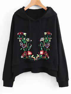 Side Slit Oversized Floral Embroidered Hoodie - Black L