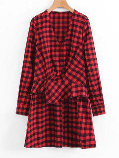 Plaid Ruffles Draped Long Sleeve Dress - Red M