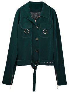 Metallic Rings Zip Up Fleece Jacket - Blackish Green S