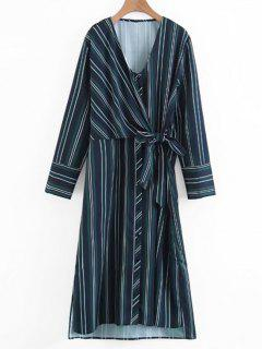Long Sleeve Wrap Stripes Casual Dress - Stripe S