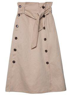 Belted Double-breasted Midi Skirt - Khaki M