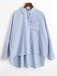 Chemise De Poche à Rayures - Bleu Clair L