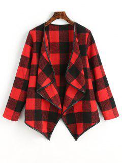 Checked Draped Asymmetric Coat - Red L