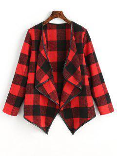 Karierter Draped Asymmetrischer Mantel - Rot Xl