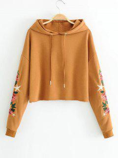 Drawstring Floral Embroidered Cropped Hoodie - Light Brown M