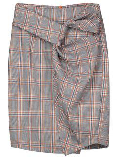 Checked Twist Pencil Skirt - Checked Xl