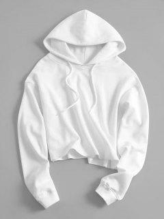 Drawstring Plain Cropped Hoodie - White S