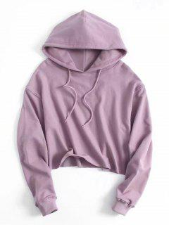 Drawstring Plain Cropped Hoodie - Purple M