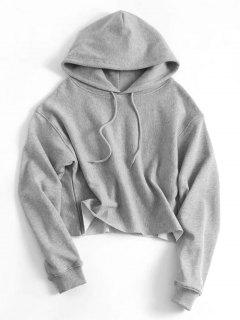 Drawstring Plain Cropped Hoodie - Gray S