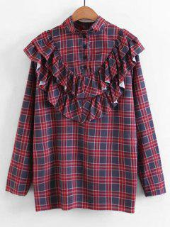 Buttoned Ruffles Plaid Blouse - Checked S