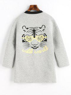 Tiger Face Graphic Back Snap Button Coat - Gray L