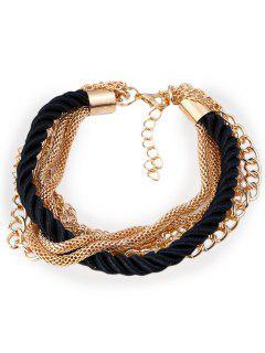 Multilayered Rope Fringed Chain Bracelet - Black