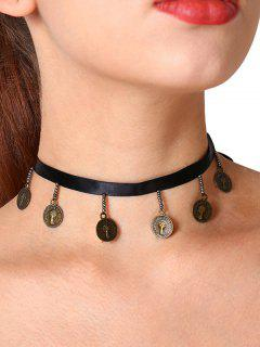 Vintage Charm Coin Choker Necklace - Black
