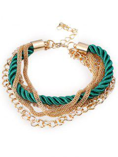 Multilayered Rope Fringed Chain Bracelet - Green
