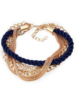 Multilayered Rope Fringed Chain Bracelet - Blue