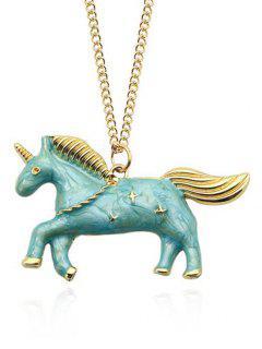 Star Unicorn Collarbone Necklace - Blue