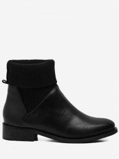 Ribbed Sweater Ankle Boots - Black 38