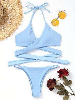 Gerippter Wickel Bikini BH Mit String Bottoms - Blau S