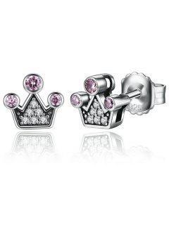 Pendientes De Botón De Plata De Ley De Corona De Diamantes De Imitación - Plata