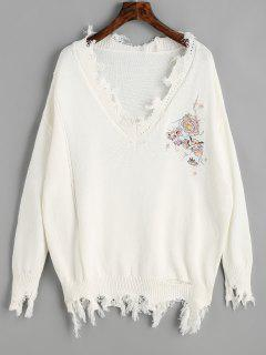 V Neck Floral Patched Ripped Sweater - White