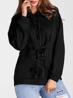 Drop Shoulder Lace Up Tunic Hoodie - Black Xl