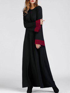 Bell Sleeve Color Block Maxi Arabic Dress - Black Xl