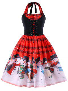 Christmas Plus Size Music Notes Halter Dress - Red 4xl