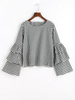 Tiered Flare Sleeve Checked Blouse - Checked M