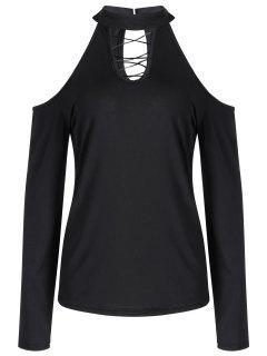 Criss Cross - Kaltes, Schulterfreies T-Shirt - Schwarz Xl