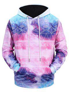 Galaxy Tribe Print Kangaroo Pocket Hoodie - Pink L