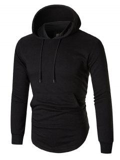 Back Zip Up Arc Hem Kangaroo Pocket Hoodie - Black Xl