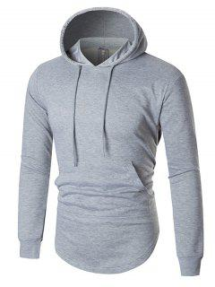Back Zip Up Arc Hem Kangaroo Pocket Hoodie - Gray L