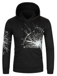 Crack Glass Print Kangaroo Pocket Hoodie - Black L