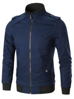 Epaulet Full Zip Stand Collar Trucker Jacket - Blue L