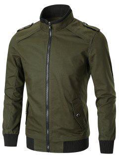Epaulet Full Zip Stand Collar Trucker Jacket - Green L
