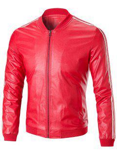 Stripe Trim Stand Collar Chaqueta De Cuero - Rojo 4xl
