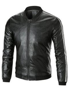 Stripe Trim Stand Collar Leatherette Jacket - Black L
