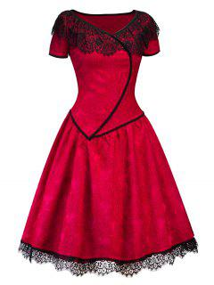 Vintage Lace Insert Midi Skater Party Dress - Red M