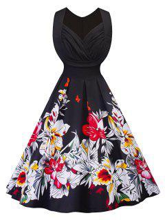Vintage Blumendruck Geraffte Passform Und Flare Kleid - Schwarz 2xl