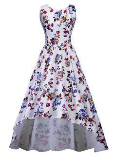 Vintage Floral Print High Low Midi Dress - White Xl