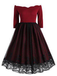 Vintage Spitzeneinsatz Overlay Kleid - Weinrot S