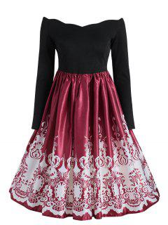 Baroque Print Vintage Dress - Black And Red 2xl